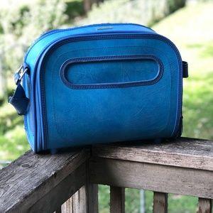 Vintage Blue Samsonite Storage Bureau Travel Bag